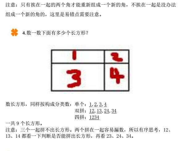 一年级数学知识点 有趣的平面图形